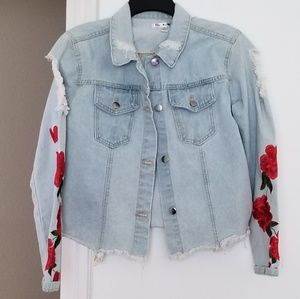 Say What? jean jacket with embroidered roses